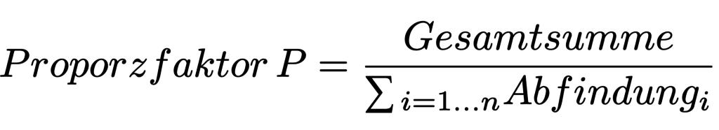 Formel zur Proporzfaktor-Anpassung